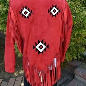 WESTERN SUEDE FRINGE JACKET RED VINTAGE LEATHER